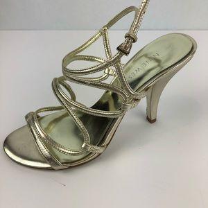 Nine West Gold Strappy Heels Sandals Size 6M